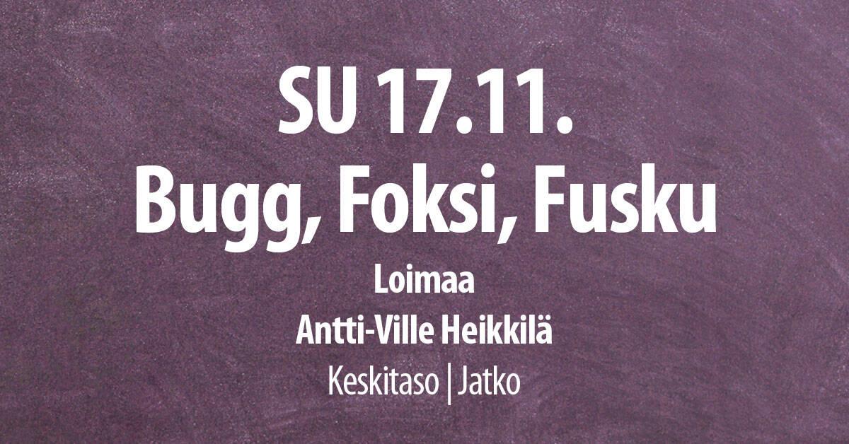 17.11. Loimaalla Bugg, Foksi ja Fusku / Tanssiseura Sekahaku ry
